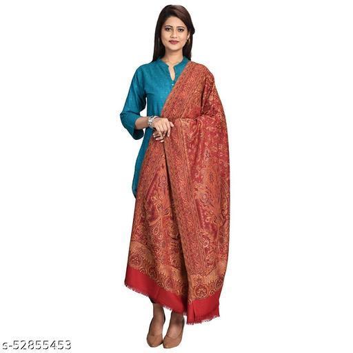 "New Stylish Women's Kashmiri Shawl, New Design, Warm and Soft, Red(SIZE: 40"" X 80"")."