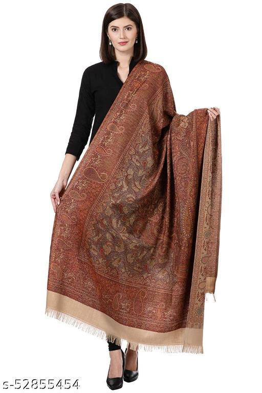 "New Stylish Women's Kashmiri Shawl, New Design, Warm and Soft Brown Shawl, Off White (SIZE: 40"" X 80"")."