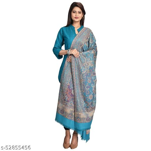 "New Stylish Women's Kashmiri Shawl, New Design, Warm and Soft,  Arabic Blue (SIZE: 40"" X 80"")."