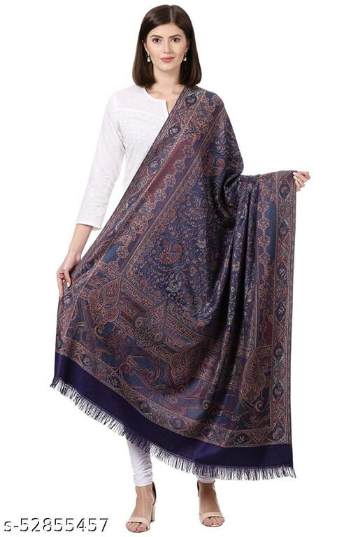 "New Stylish Women's Kashmiri Shawl, New Design, Warm and Soft,  Navy Blue (SIZE: 40"" X 80"")."
