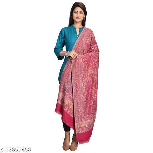 "New Stylish Women's Kashmiri Shawl, New Design, Warm and Soft  Gajri Shawl, Pink (SIZE: 40"" X 80"")."