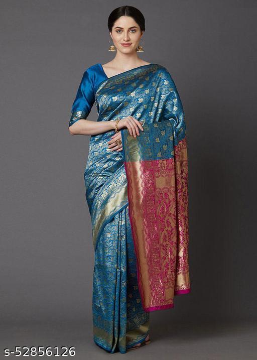 Festive Silk Blend Banarasi Saree with unstitched blouse