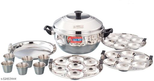 Eurostyle 21 Idli - Compact S.S.Idly Cooker With 6 Cups Idly Maker ( 3 Plates + 1 Steamer Plate )