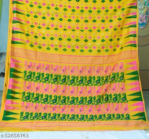 Soft Handloom Dhakai Jamdani Saree (Yellow)