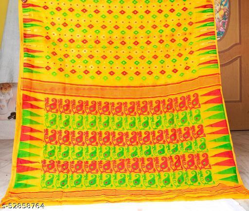 Soft Handloom Dhakai Jamdani Saree (mustard)