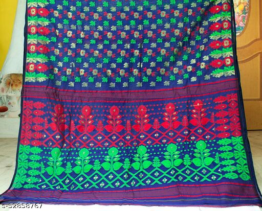 Soft Handloom Dhakai Jamdani Saree (Blue)