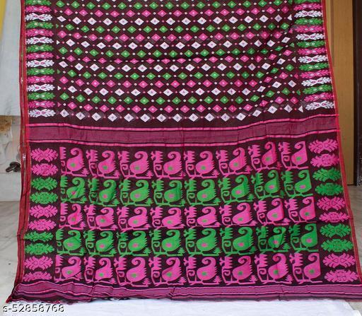 Soft Handloom Dhakai Jamdani Saree (Chocolate brown)