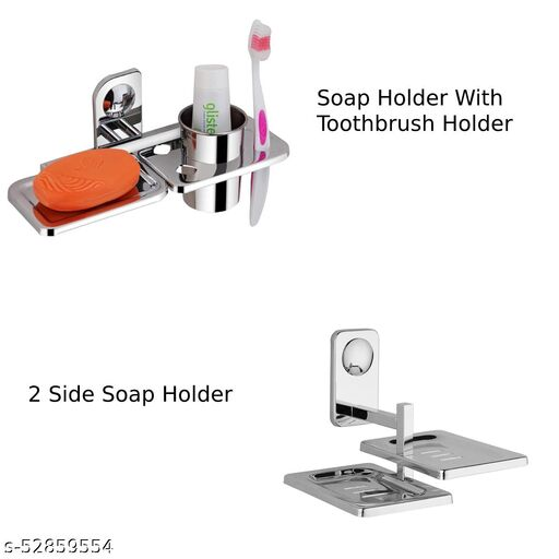 ELVIZ Combo Soap Dish 2 Side And Soap Dish 1 Side With ToothBrush Holder Stainless Steel