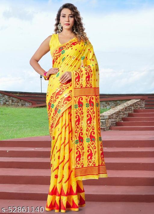 Women's Pure Cotten Transparent And Floral, Minakari saree with blouse piece