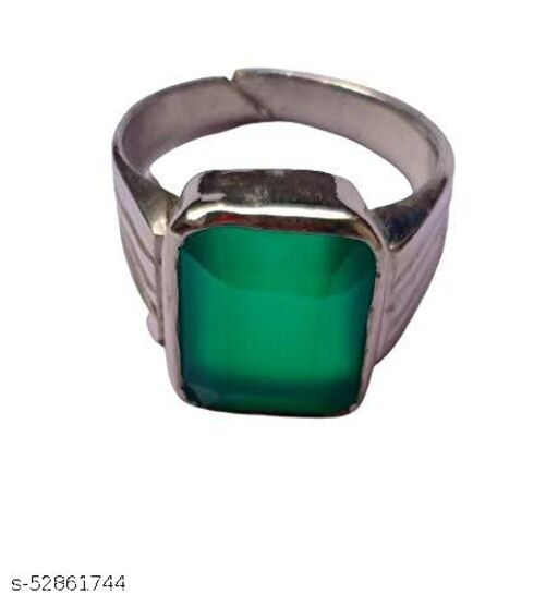 Green Onyx Gemstone Weight 7.25 Ratti Panch Dhatu Silver Coated Adjustable Ring for Men and Women with Lab Certificate
