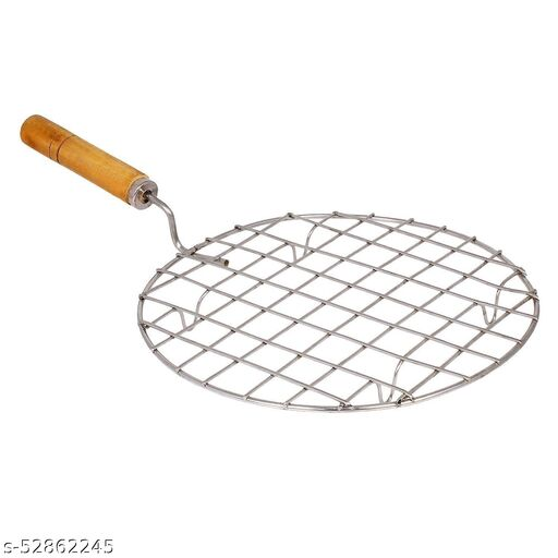 Roster Roti Papad Chapati Toast brinjal Chicken paneer tandoor (baingan) Wooden Handle Stainless Steel net Roaster (Round Roaster)