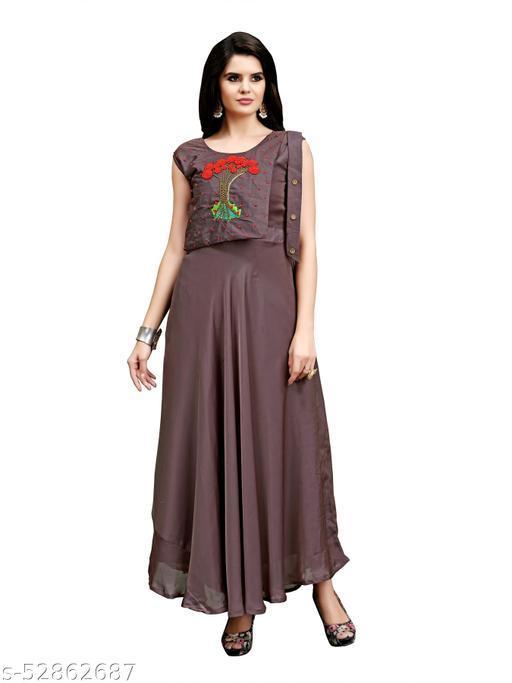 Women Rangoli Silk Stitched Hand Work Gown for Women