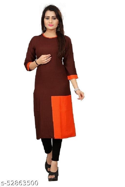 Women's Plain & Solid Rayon Kurti