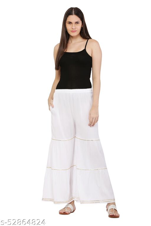 White Color Frills Palazzos