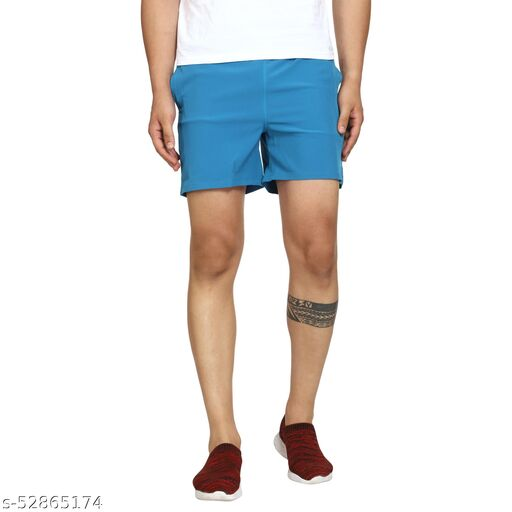 Reify Longlife Stretchable NS Lycra Sports Shorts for Gym/Sports/Running (Sky-blue)