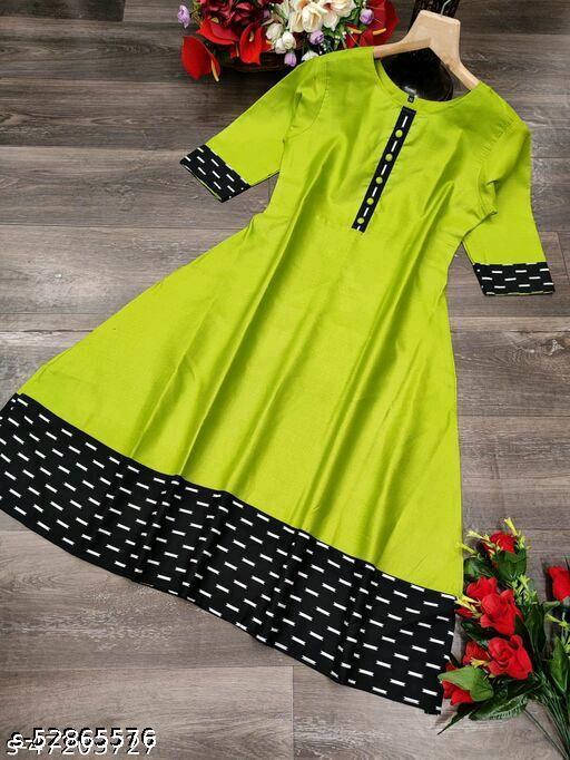 Sitaram Designer Anarkali Style ikkat Printed Cottan Blend Kurti