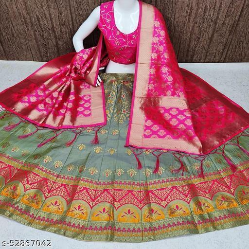 Shangreela Banarasi brocade Lehnga with inner cancan & lining and ready paded Blouse and Banarasi duppta