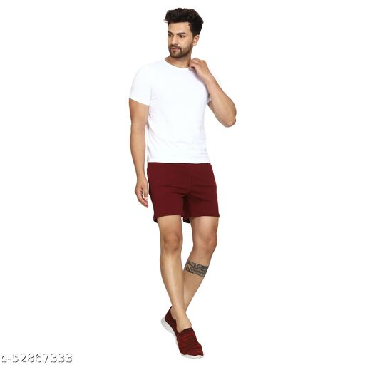 Longlife Stretchable NS Lycra Sports Shorts for Gym/Sports/Running(Maroon)