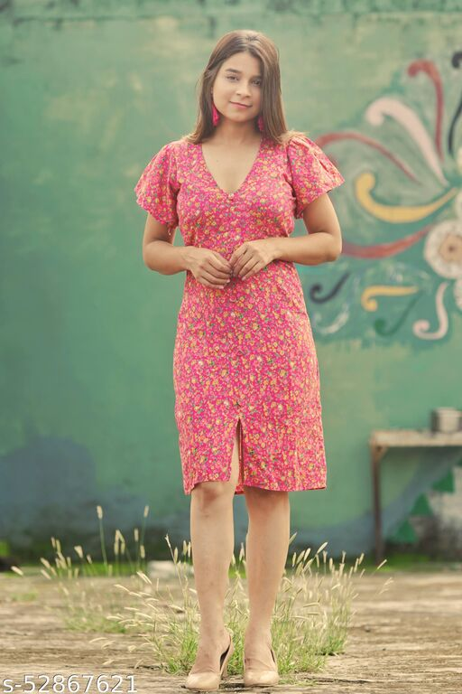 Ilariyaa Pink Floral Dress