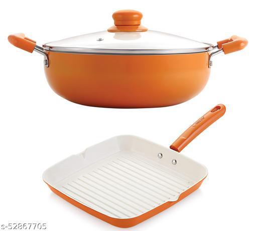 Nirlon Orange Aluminium Ceramic Coated Non-Stick Induction Based Kadhai 22 CM & Grill Pan 24 CM Combo Set
