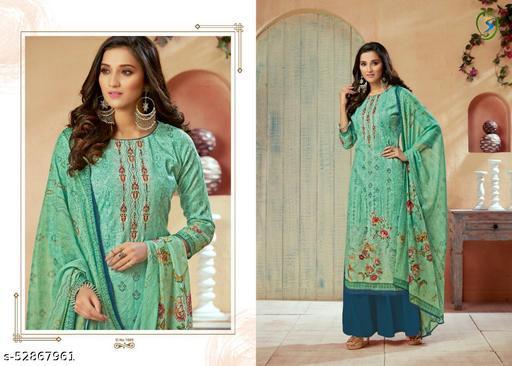 Aaria Pashmina Digital Print with Aari work with Pure Duppta Suits