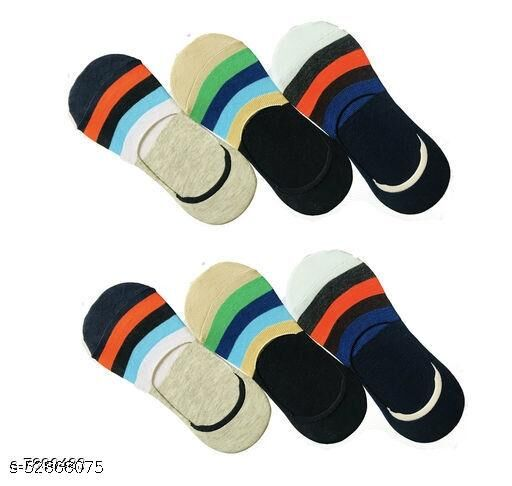 Unisex Cotton Low Cut No-Show Striped Loafer Socks with Anti Slip Silicon Grip (Pack of 6 Pairs)