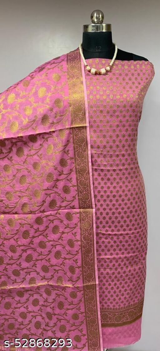 (R6Pink) Fashionable Banarsi Cotton Suit And Dress Material