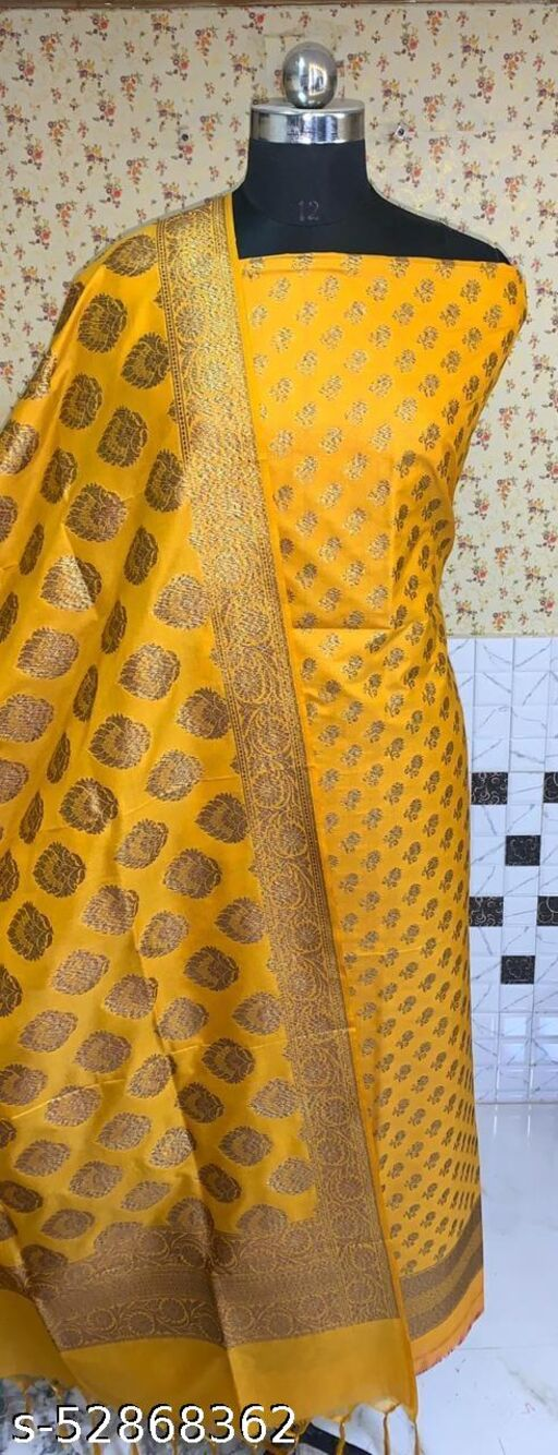 (R3Mustard) Fashionable Banarsi Kataan Silk Suit And Dress Material