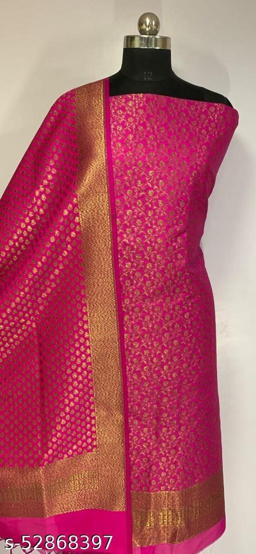 (R9Pink) Fabulous Banarsi Kataan Silk Suit And Dress Material