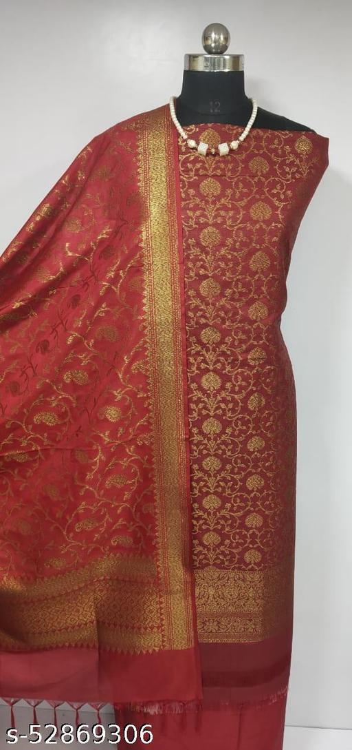 (R8Maroon) Fabulous Banarsi Kataan Silk Suit And Dress Material