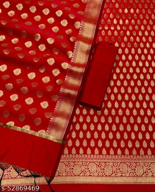 (R3Red) TrenDy Fabulous Banarsi Silk Suit And Dress Material