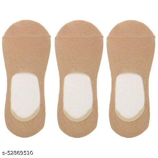 Unisex Cotton Low Cut No-Show Loafer Socks with Anti Slip Silicon Grip (Pack of 3 Pairs, Beige Color)