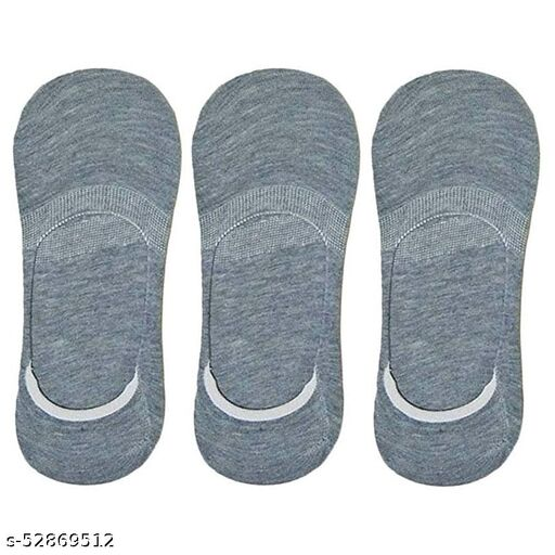 Unisex Cotton Low Cut No-Show Loafer Socks with Anti Slip Silicon Grip (Pack of 3 Pairs, Grey Color)