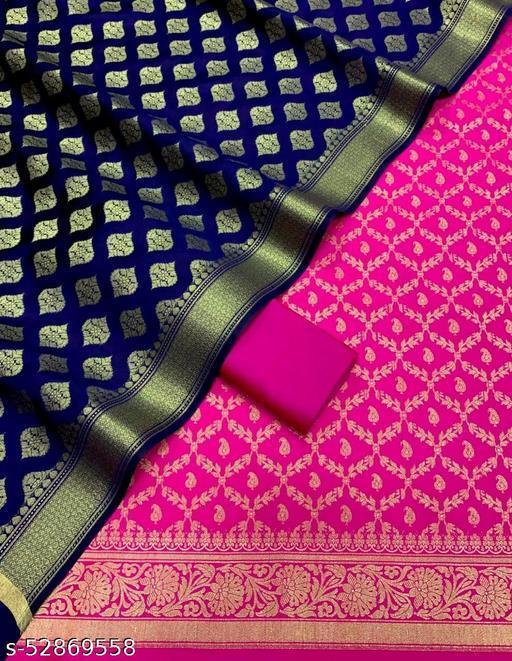(R17Pink) Weddings Special Banarsi Silk Suit And Dress Material