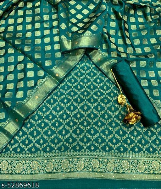 (R27Teal) Exclusive Banarsi Jaquard Stone Work Silk Suit And Dress Material