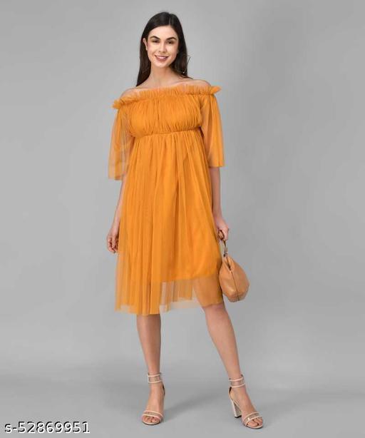Trending Mustard Net Dress