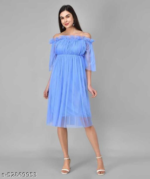 Trending Blue Net Dress