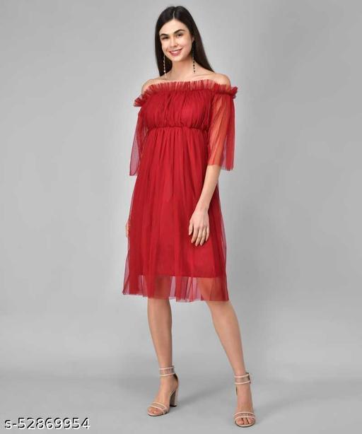 Trending Red Net Dress
