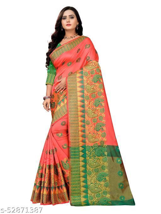 Women's Banarasi Silk Saree With Blouse Piece (Gajri&Green)