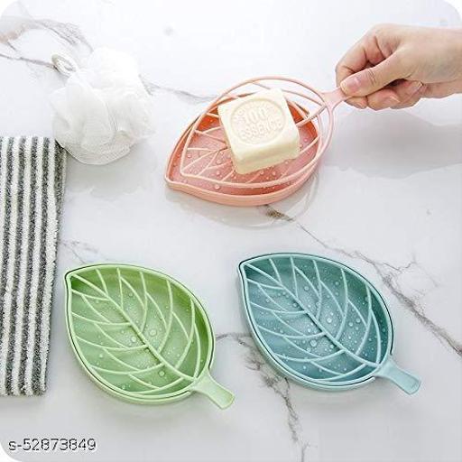 Plastic 3Pcs Beautiful Leaf Shape Double Layer Soap Dish Case Holder Bathroom Accessory - Multicolor (Leaf Soap Dish - Set of 3)