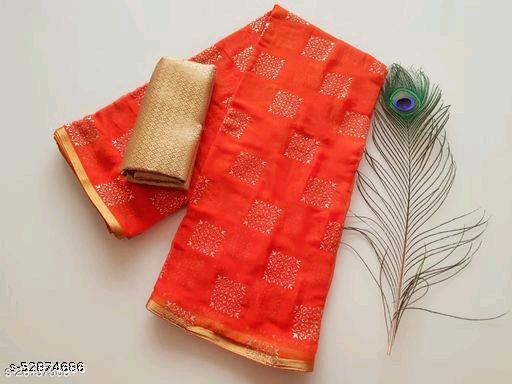 Hasti Fashion Women's Chiffon Saree with Unstitched Blouse Piece
