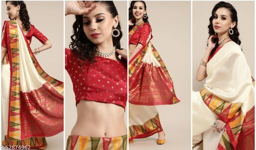 Women's RAW SILK SKIN SAREE with Red Gold zari border With Blouse Piece(SUVIDH)