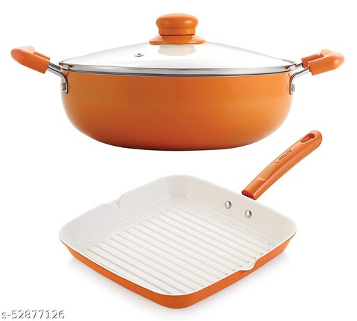 Nirlon Orange Aluminium Ceramic Coated Non-Stick Induction Based Kadhai 24 CM & Grill Pan 24 CM Combo Set