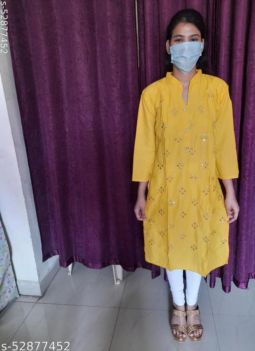 women fancy Mirror Work kurti