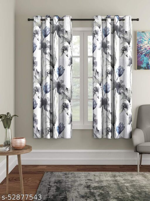 Polyester Floral Window Curtain, Window - 5 Feet