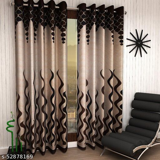 Eyelet Polyester Door Curtains ,7ft