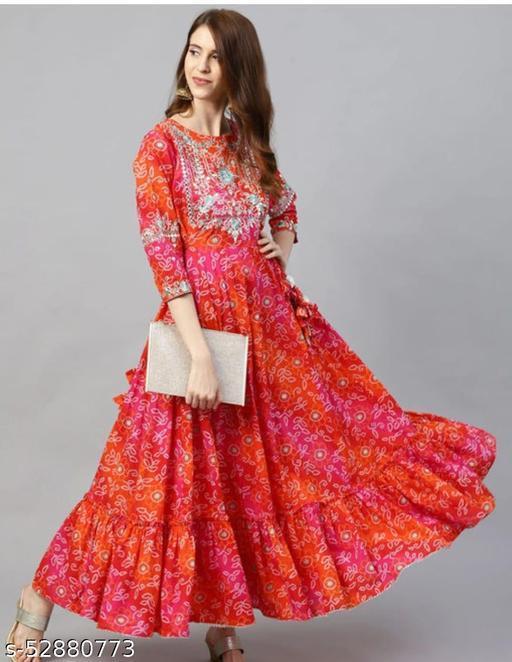 Multicolor Beautiful Full Gher Anarkali Bandej Kurti