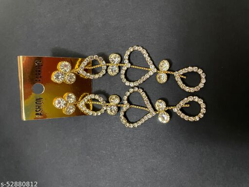 Heart shaped Diamond Earing for women (golden)