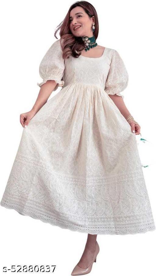 Ebbani women embroidered  aroma white gown dress