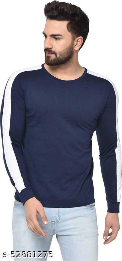 Solid Men Round Neck BlueT-Shirt